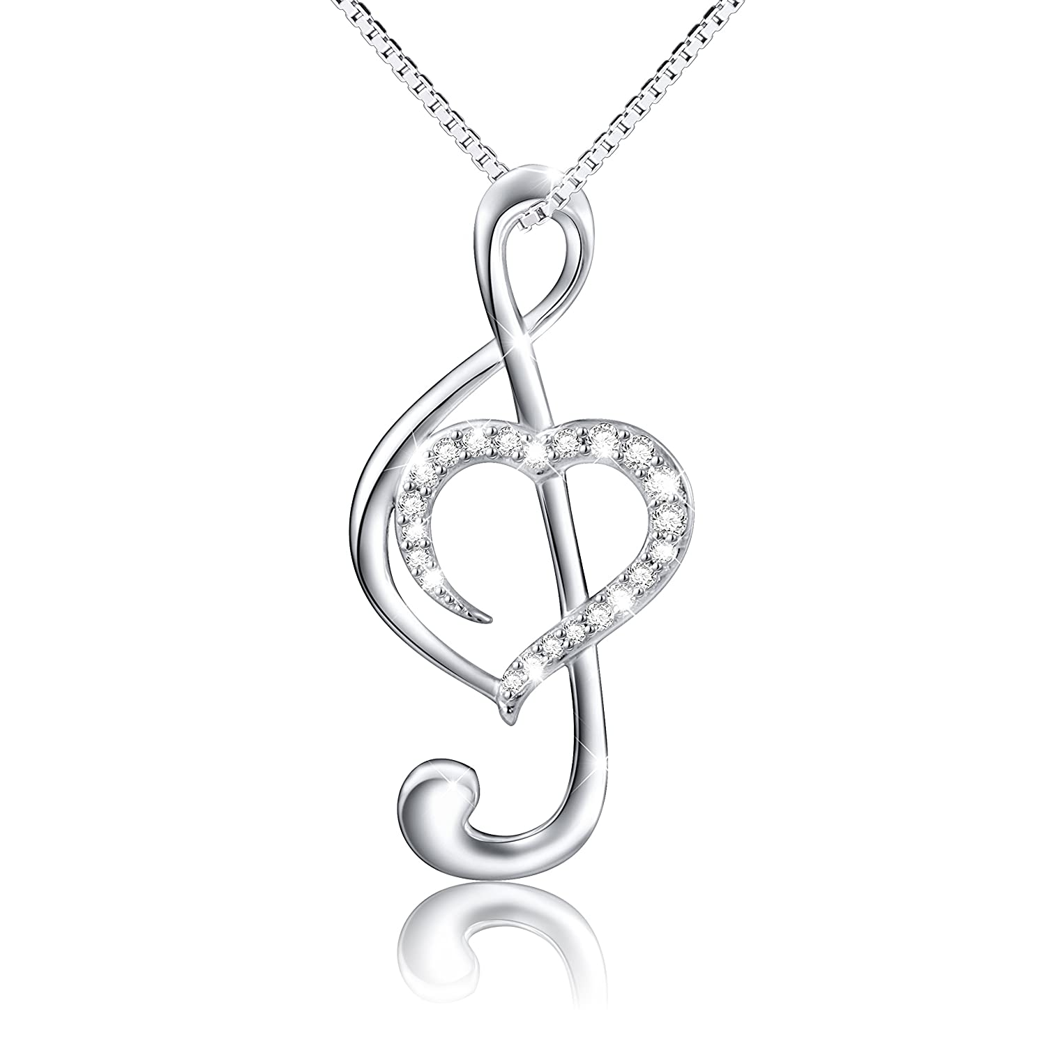 sterling necklace silver women with zirconia products image s cubic musical pendant note product womens