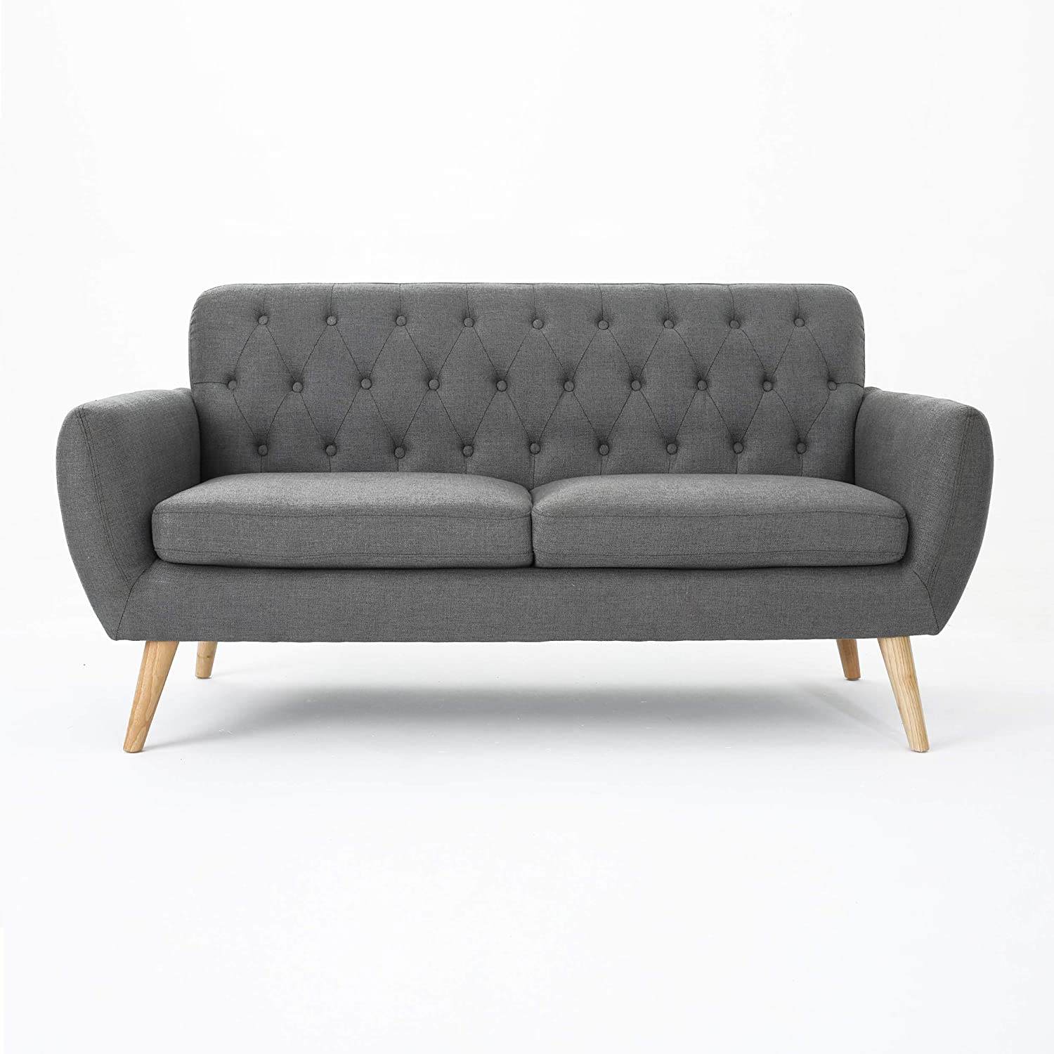 Christopher Knight Home Bernice Mid-Century Modern Tufted Fabric Sofa, Dark Grey / Natural