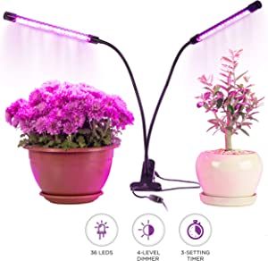 Grow Light, Rozway 40W Dual Head   HIGH YIELDS   Timer 4 Dimmable Levels Plant Grow Lights for Indoor Plants with Red Blue Spectrum, Adjustable Gooseneck, 3 6 12H Timer, 3 Switch Modes.