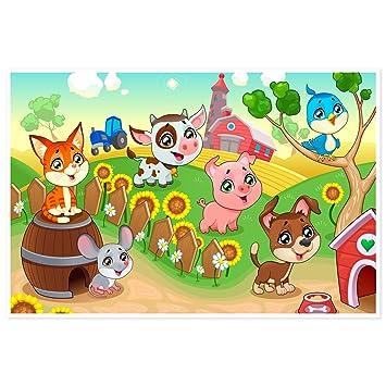 Topposter Poster für Kinderzimmer - Tierkinder auf dem Bauernhof ...