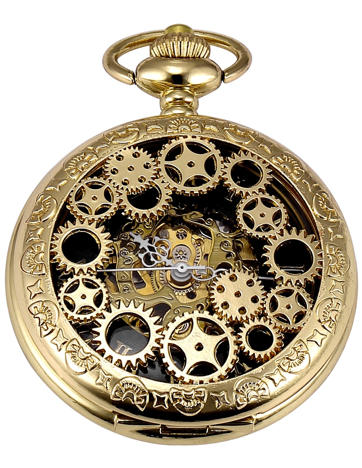 AMPM24 Mechanical Pocket Watch Skeleton Golden Alloy Case WPK220