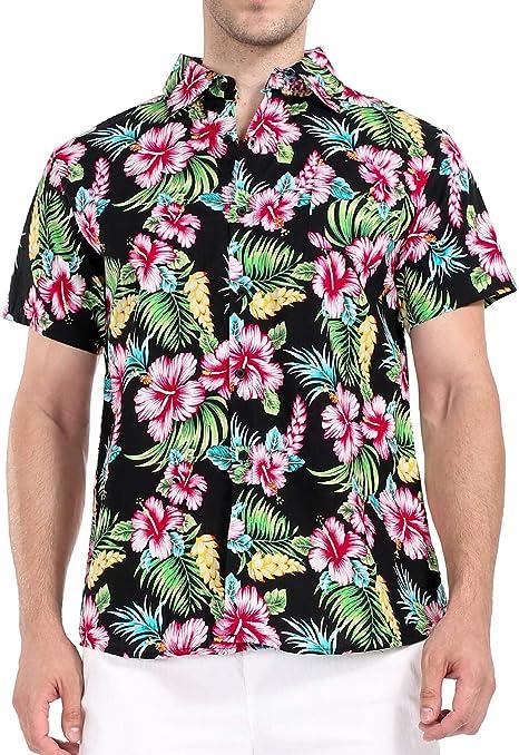 COOFANDY Mens Summer Tropical Hawaiian Batik Shirt Casual Button Down Short Sleeve Beach Shirts