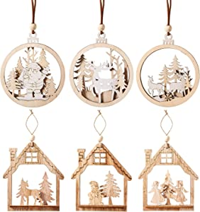 ZKZX Christmas Hanging Wooden Ornament Wooden Christmas Cutouts Embellishments Hanging Ornaments with Ropes for Christmas Decorations 6PCS (STYB)