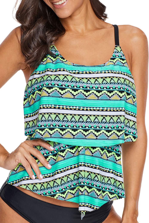 Astylish Women's Swing Beach Ruffled Flounce Layered Padding Tankinis Tops Tribal Printed Summer Thin Shoulder Tankini Tops Swimsuit Swimwears X-Large 14 16 Green