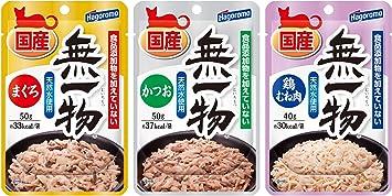 【Amazon.co.jp限定】 はごろも キャットフード (国産) 無一物パウチ バラエティパック まぐろ・かつお・鶏むね肉 30個入(3種類×各10個) (ケース販売)