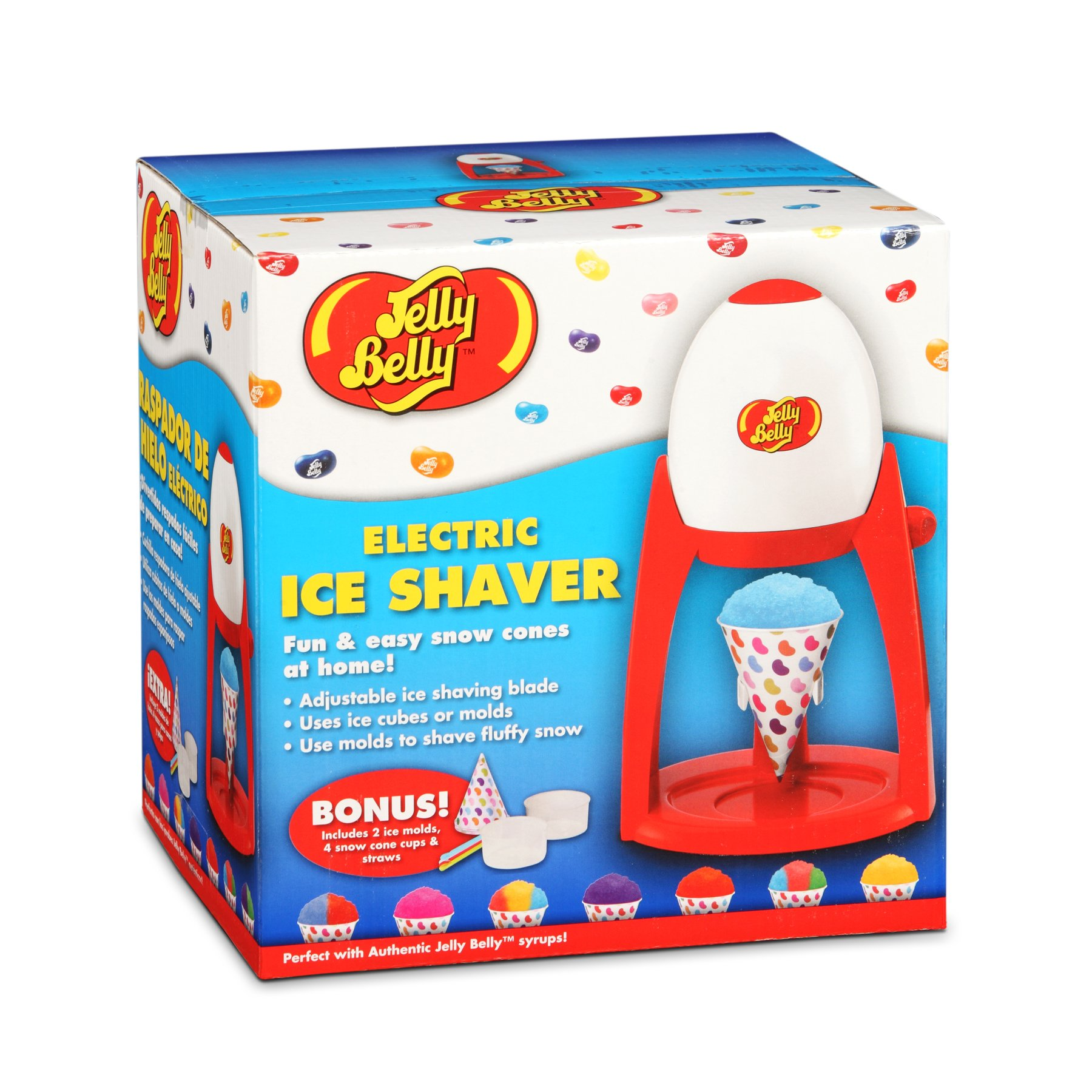 Jelly Belly JB15335 Easy to Use Electric Commercial Snow Cone Maker Fast Fun and Easy Icy Treat, Red