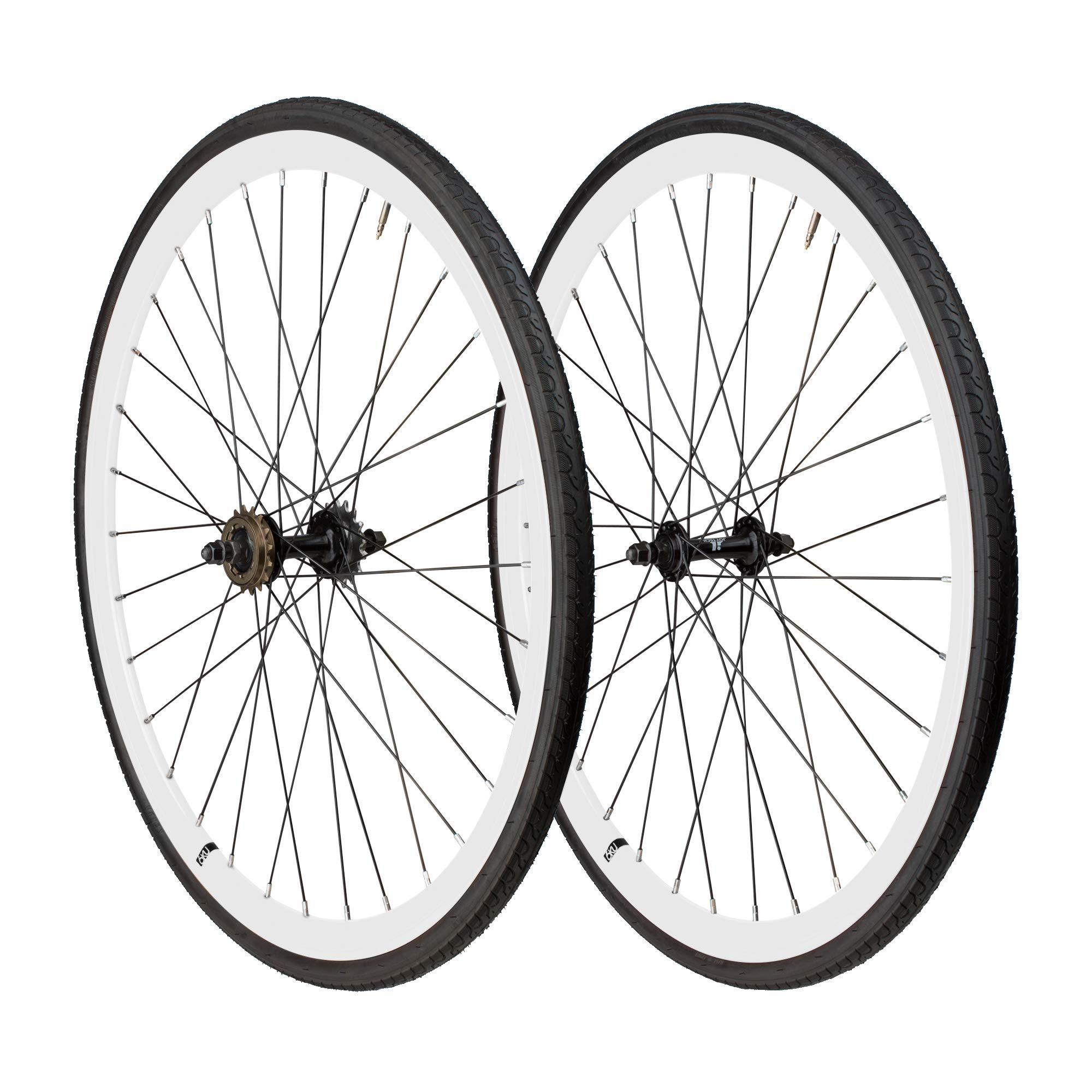 6KU 700C Deep V Alloy Fixie Wheelset, Gloss White