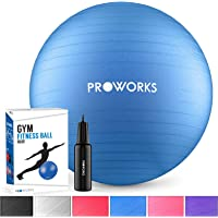 Proworks Gymnastikball [55cm - 85cm] Heavy Duty Sitzball für Sport Physiotherapie Schwangerschaft Yoga Pilates - Fitness Ball für Rückenübungen und Dehnübungen - In 6 inkl. Pumpe