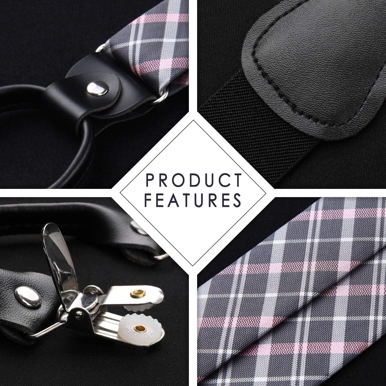 HISDERN Check 6 Clips Suspenders /& Bow Tie and Pocket Square Set Y Shape Adjustable Braces Blue