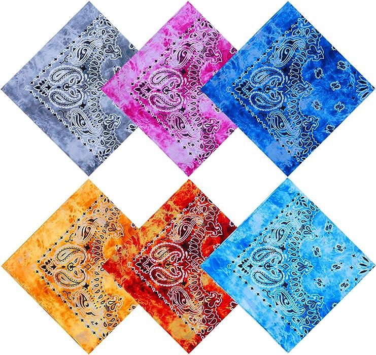 e70bd6db URATOT 6 Pack Tie Dye Bandana Cotton Paisley Bandanas Headbands Cowboy  Handkerchiefs for Men and Women