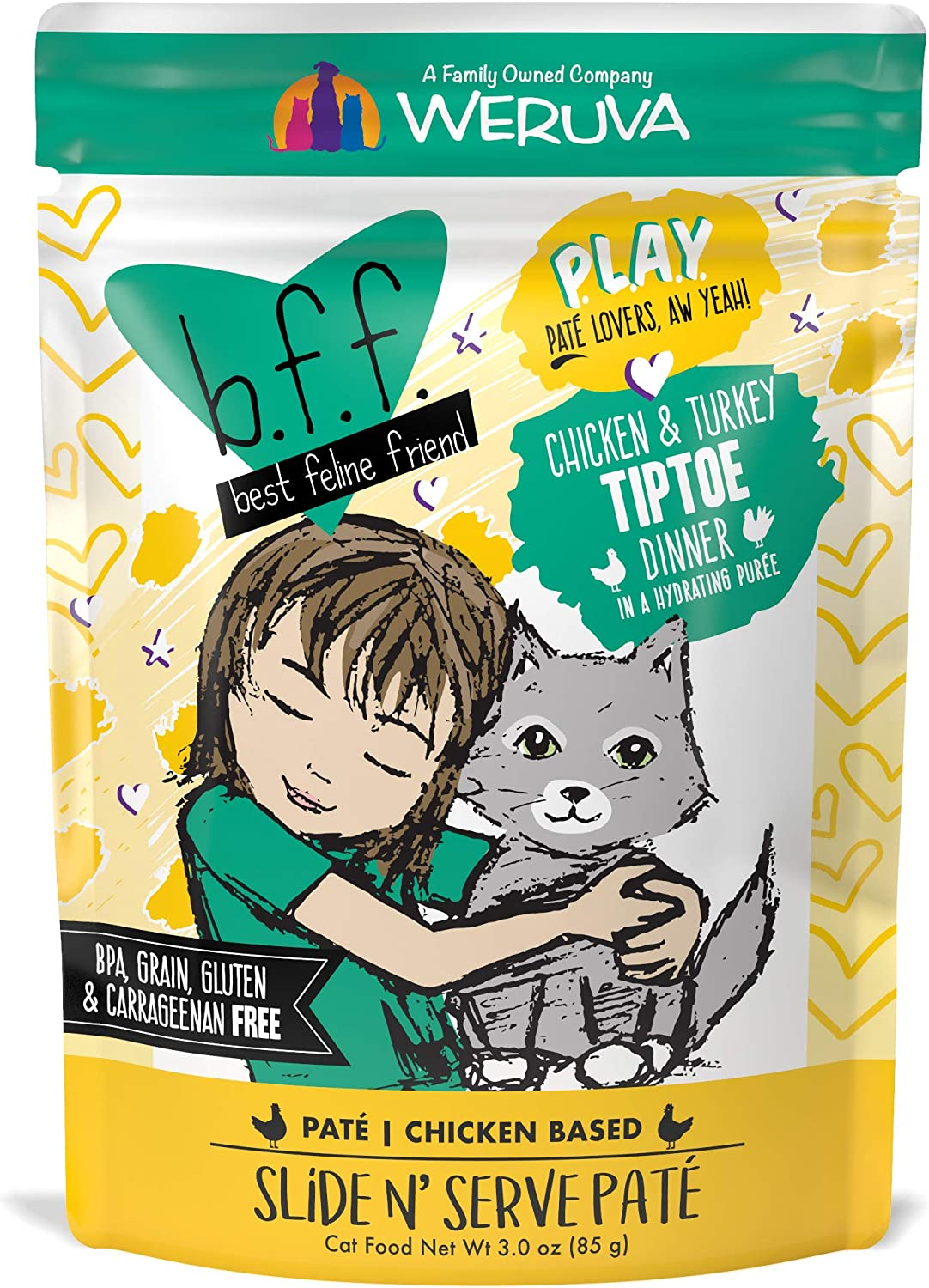 B.F.F. PLAY - Best Feline Friend Paté Lovers, Aw Yeah!, Chicken & Turkey Tiptoe with Chicken & Turkey, 3oz Pouch (Pack of 12)