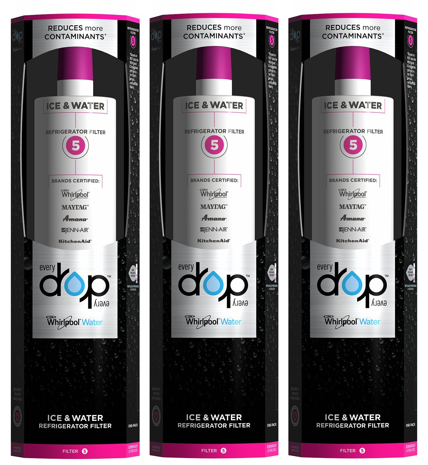 EveryDrop by Whirlpool Refrigerator Water Filter 5 (Pack of 3)