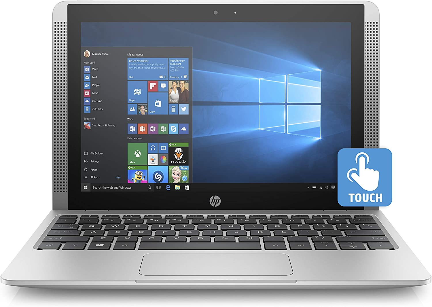 HP 10-p018wm Intel x5-Z8350 Quad Core 4GB 64GB 2-in-1 10.1 inches 2-in-1 Touch Laptop (Renewed)