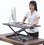 Table jack Standing desk converter - 32 X 22 inch Extra large Ergonomic height adjustable sit stand up desk converter that can act as a desk riser adaptable for a dual monitor setup
