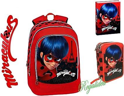 Mochila escolar Miraculous Ladybug + estuche con 3 cremalleras + diario + muñeca + colgante: Amazon.es: Oficina y papelería