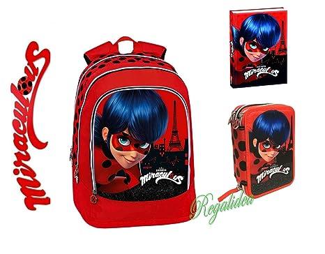 Mochila escolar Miraculous Ladybug + estuche con 3 ...
