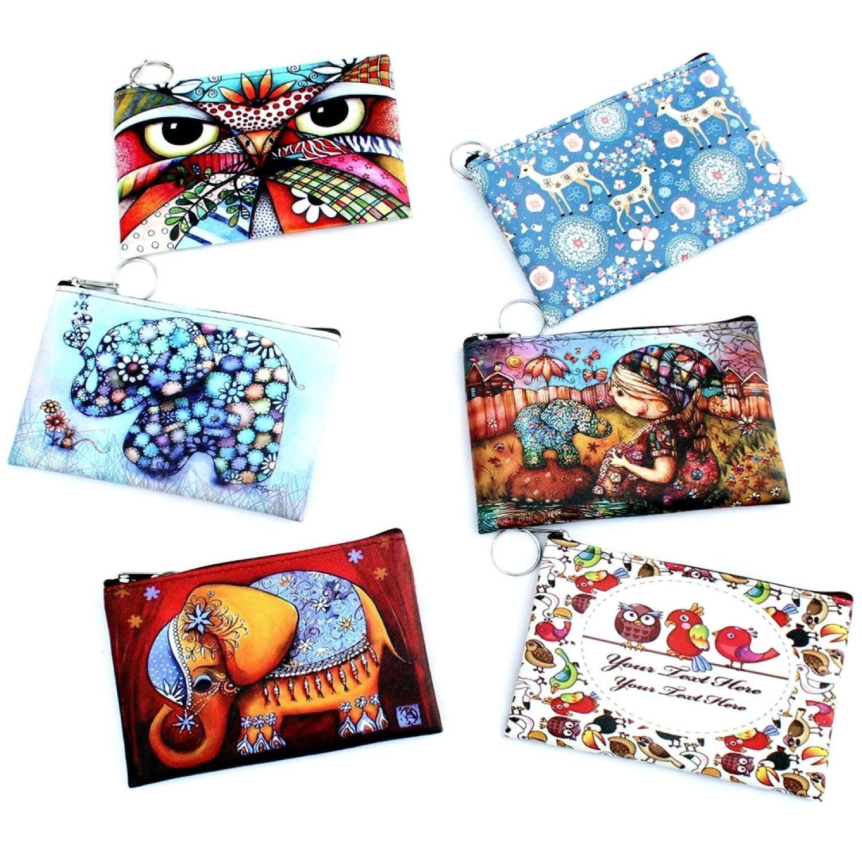 Amazon.com: Owl Elephant giraffes Print coin purse Women ...
