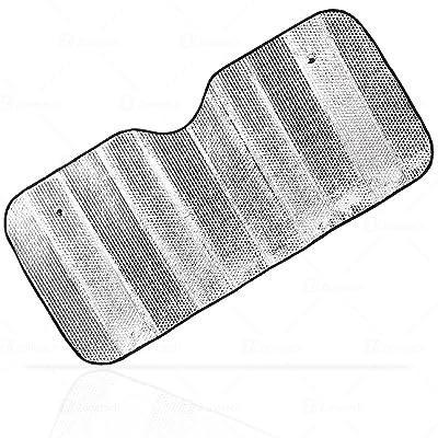 Zone Tech Silver Car Foldable Sun Shade Premium Quality Accordion Metallic Reflective Car Sun Shade: Automotive