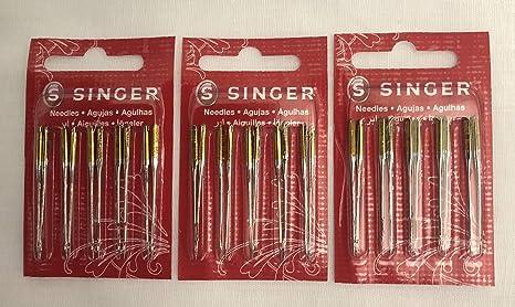 Singer agujas para máquina de coser 2045 banda amarilla tamaño 11 ...