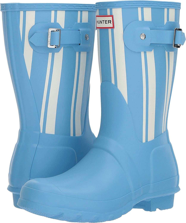 Hunter Womens Original Garden Stripe Short Rain Boots B0758JXXHS 9 B(M) US|Forget Me Not/White