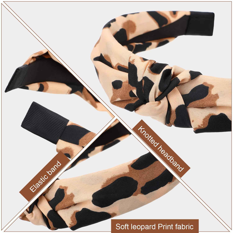 paquete de 3 IYOU Diademas de moda Envolturas de cabeza con estampado de leopardo Bandas anchas de algod/ón Bufanda deportiva con cabeza el/ástica para mujeres y ni/ñas