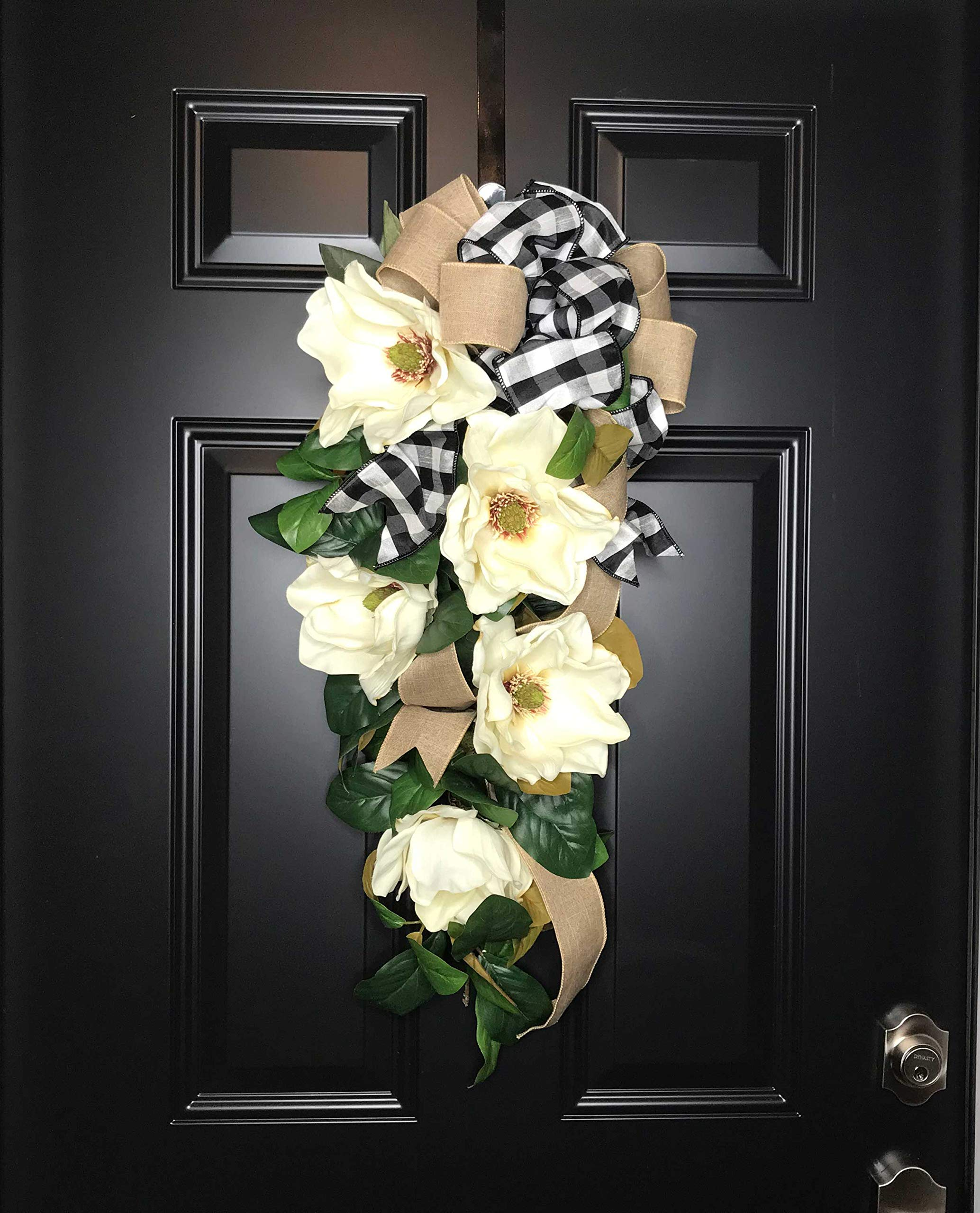 Large Southern Magnolia Teardrop Floral Swag Wreath w/Buffalo Plaid/Check Bow for Front Door Porch Indoor Wall Farmhouse Decor Spring Springtime Summer Summertime Year Round, Handmade, 30''L x 18'' W by Wreath and Vine, LLC (Image #9)