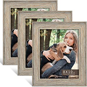 8x10 Picture Frame (3-Pack) - Rustic Farmhouse Distressed Photo Frame Set for Wall with Glass Cover Gilding Crafts Ready to Hang or Stand
