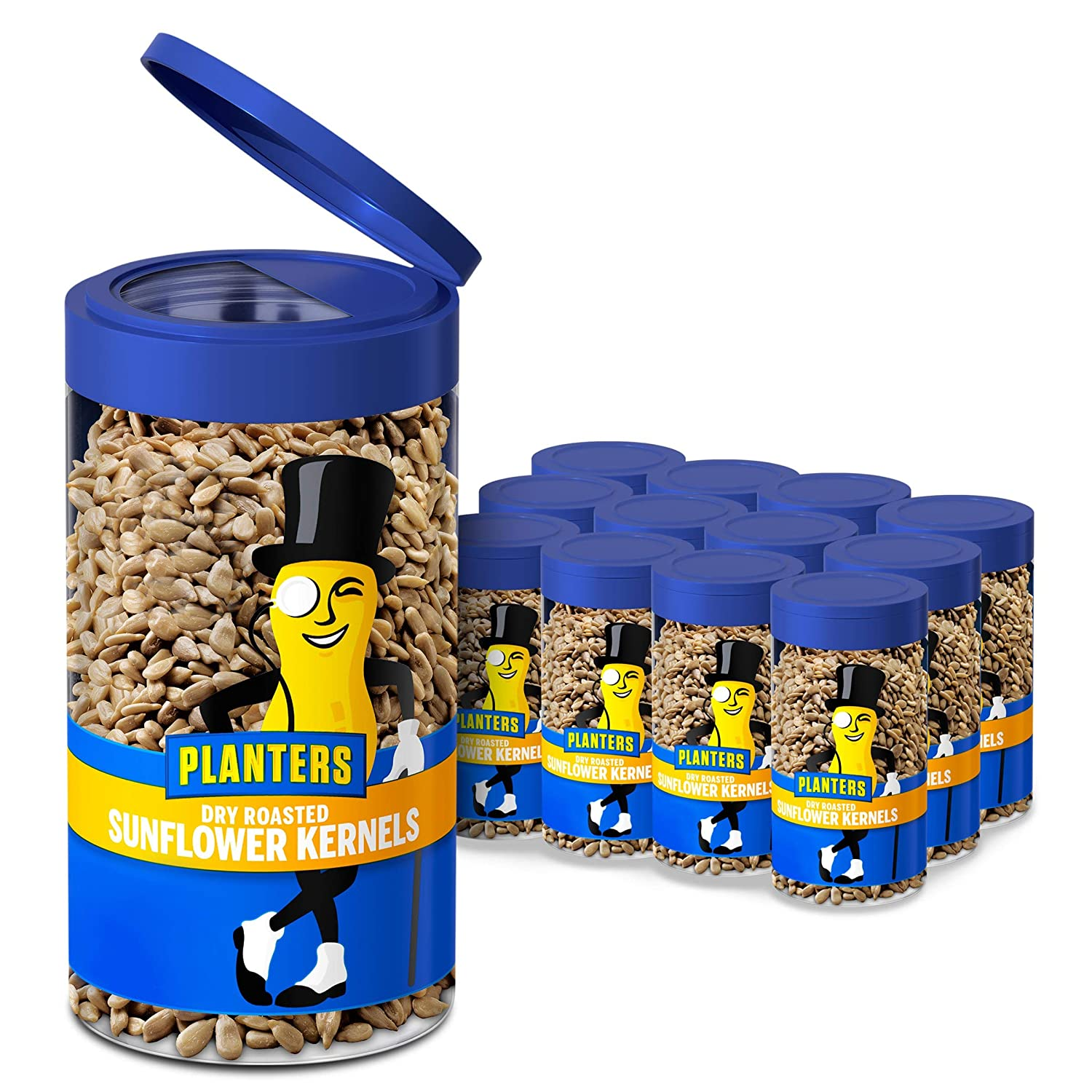 PLANTERS Pop & Pour Dry Roasted Sunflower Kernels 5.85 oz Jar (Pack of 12) - Portable Snack for Easy Snacking - Alternative to Sunflower Seeds - Great After School Snack or Movie Snacks - Kosher