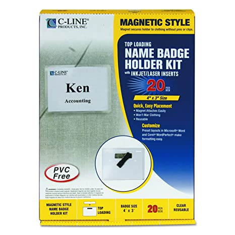 C-Line Magnetic Style Name Badge Kit, 4 x 3 Inches, Box of 20 (92943)