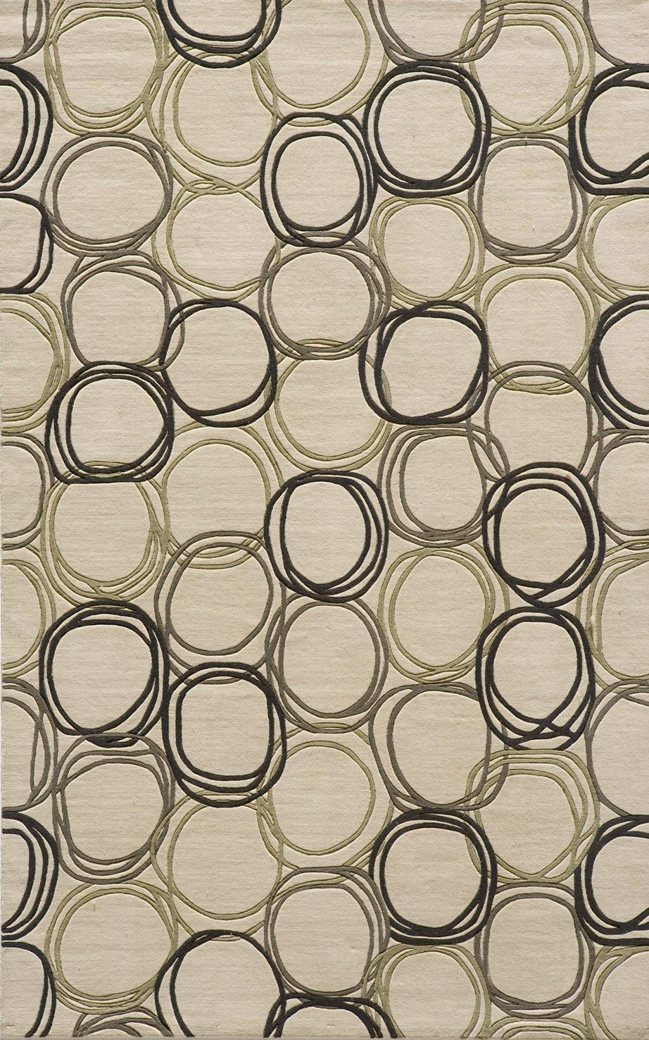 Momeni Rugs Elements Collection, 100 New Zealand Wool Hand Carved Contemporary Area Rug, 2 x 3 , Ivory