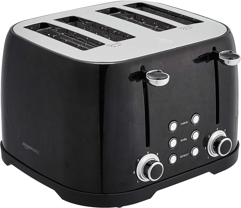 AmazonBasics 4-Slot Toaster, Black (Renewed)
