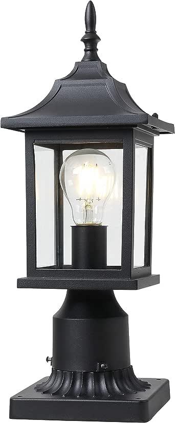 Outdoor Post Light - 1 Pack, Matt Black Pillar Light Fixtures with Clean and Bright Glass for Patio Porch Garden Decor
