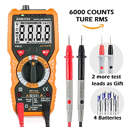 Tacklife DM03B Advanced Electrical Tester 2000 Counts Manual-Ranging AC//DC Voltage Current Resistance Diode and Continuity Voltmeter Ammeter Ohmmeter with LCD Backlight Multimeter
