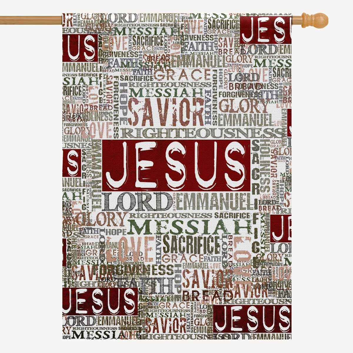 "INTERESTPRINT Vintage Jesus Religious Bible Verse House Flag Home House Banner Decorative Flags for Party Yard Home Outdoor Decor 28"" x 40"" (Without Flagpole)"