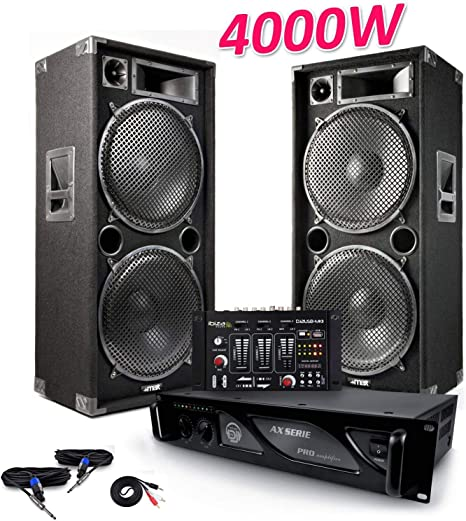 Pack sono 2 altavoces Pro 4000 W max215 + mesa de mezclas DJ21 USB ...
