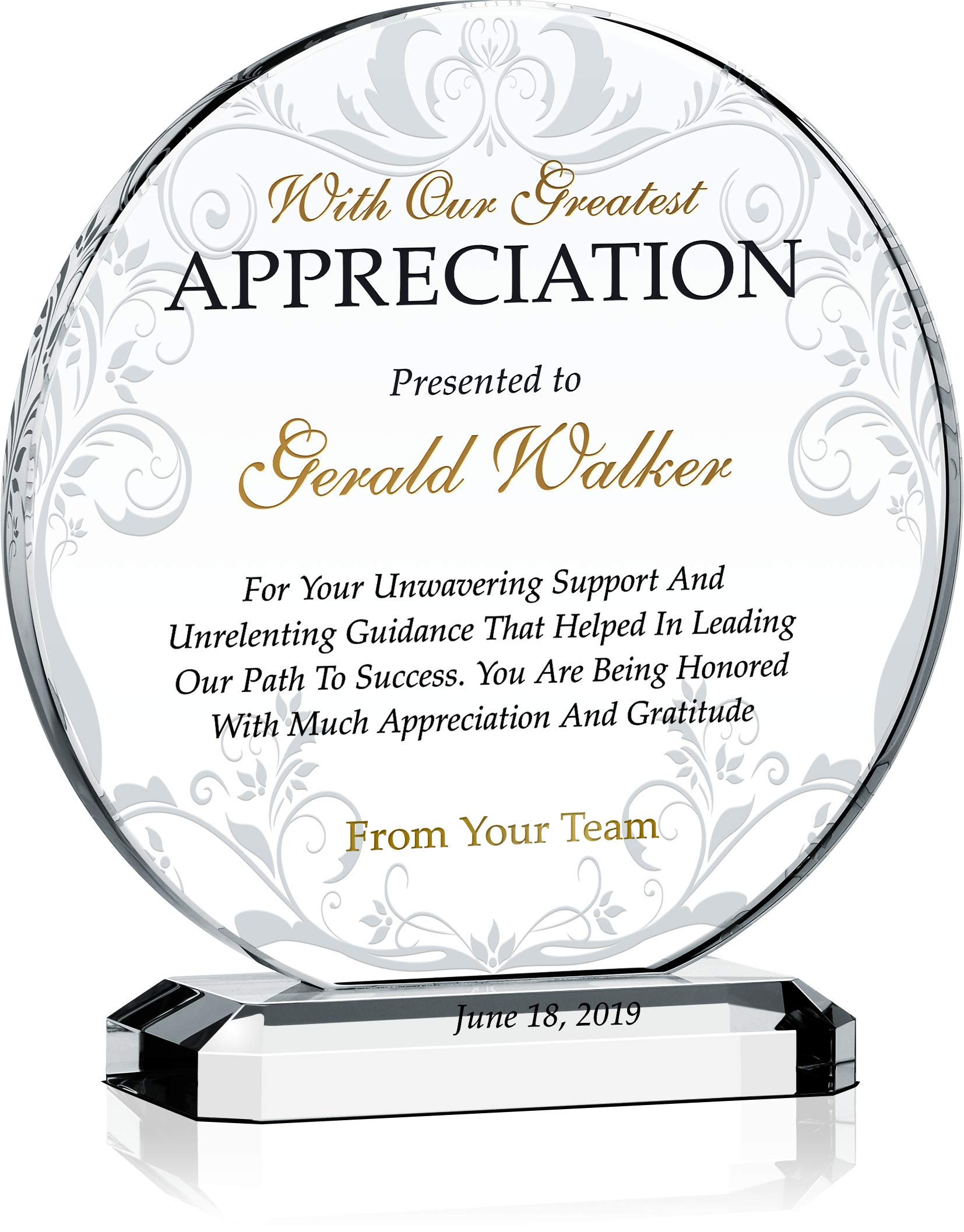 Crystal Central Personalized Appreciation Award Plaque for Mentor, Coach, Boss, Manager, Board Member, Board Director, Customized with Recipient Name and Date, Unique Thank You Gift Plaque (L - 8'') by Crystal Central