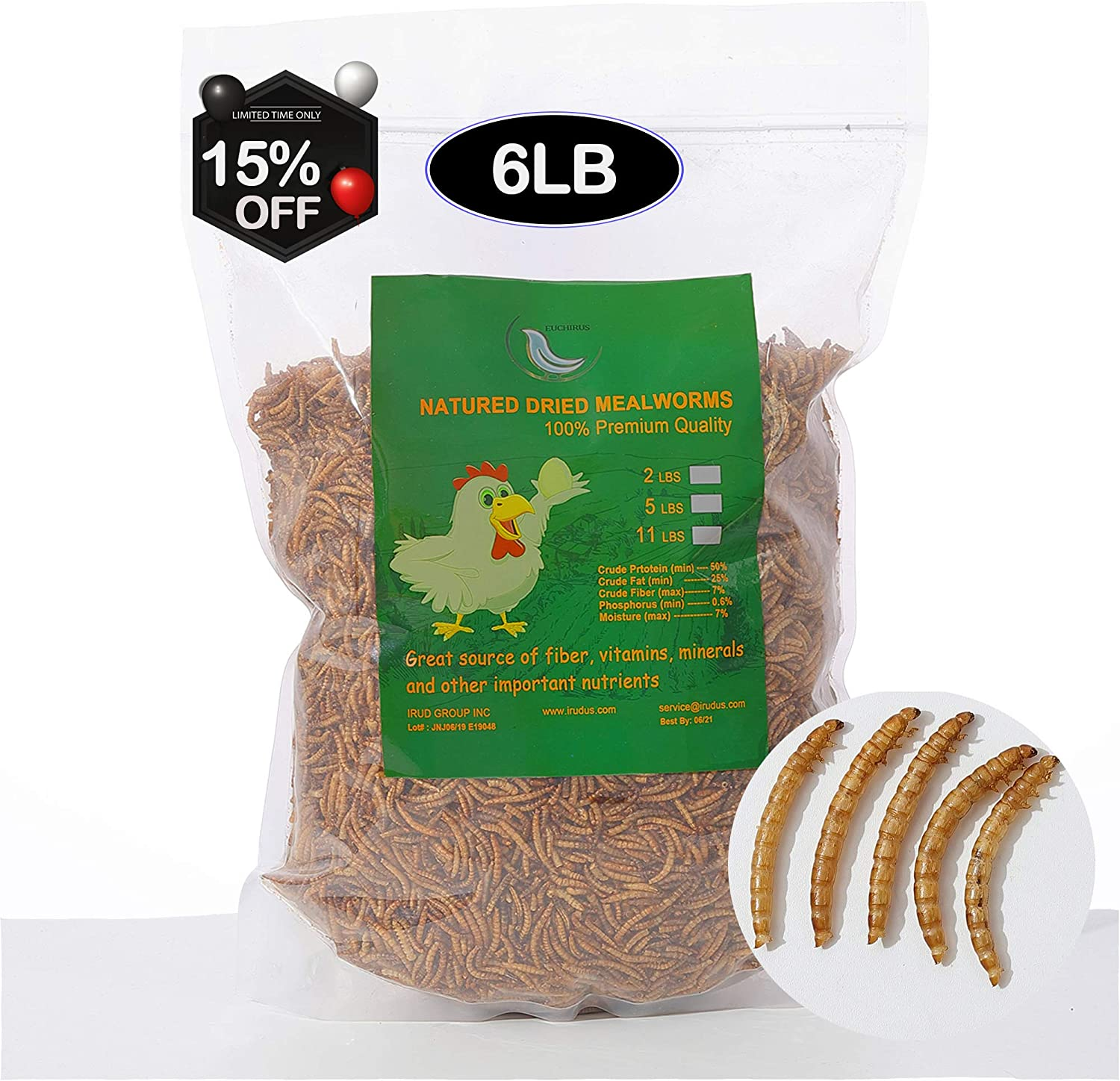 Euchirus 6LBS Non-GMO Dried Mealworms for Wild Bird Chicken Fish,High-Protein,Large Meal Worms.