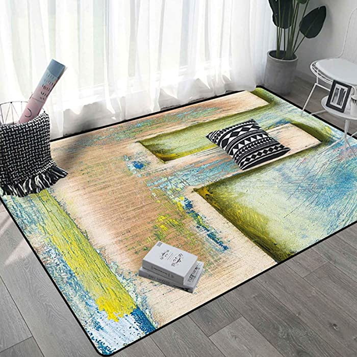 Letter F Carpets for Living Room 4x6 Ft, Damaged Worn Uppercase F ing Symbol Antique Letterpress Block Typeface Soft Indoor Mat, Green Blue Tan