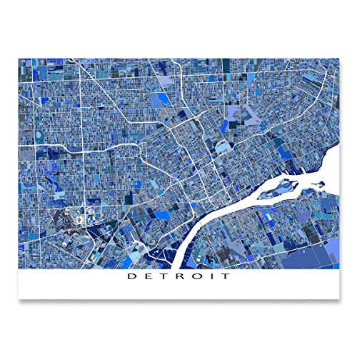 Amazon.com: Detroit Map Print, Michigan USA, City Street Art, Blue ...