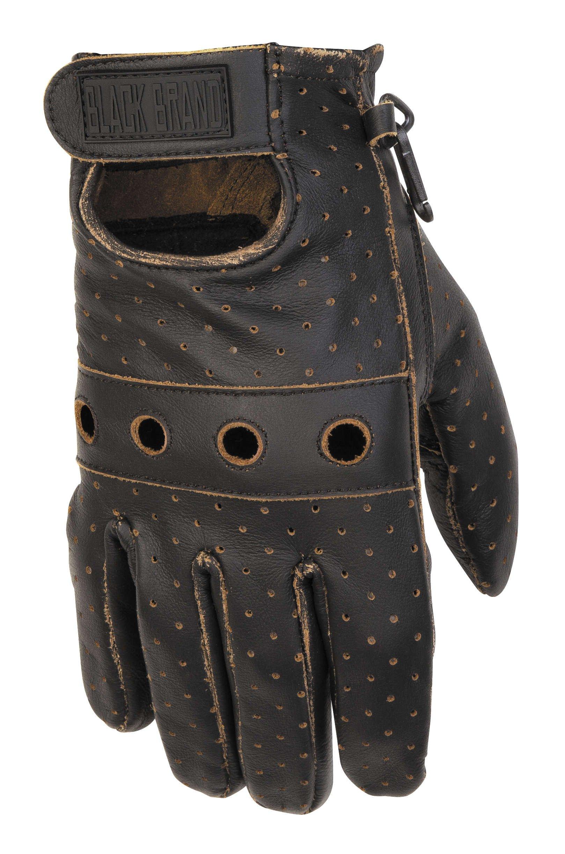 Black Brand Men's Leather Vintage Knuckle Motorcycle Gloves (Black, X-Large)