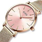 CIVO Relojes Mujer Ultra Fino Silm Minimalista Reloj de Señoras Impermeable Moda Vestir Elegante Relojes de Pulsera Lujo Casual Acero Inoxidable Malla Reloj de Cuarzo para Mujeres