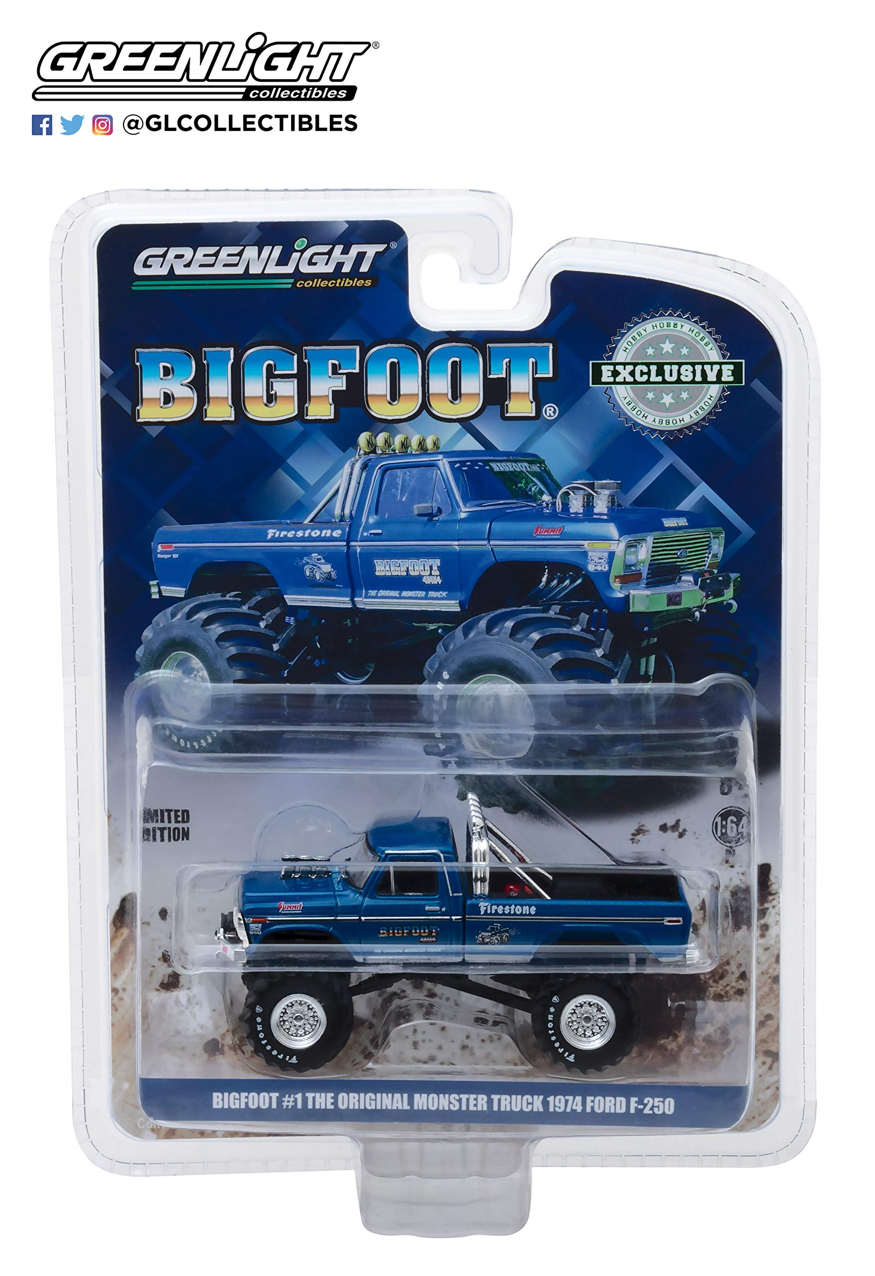 1974 Ford F-250 Monster Truck Bigfoot #1 Blue The Original Monster Truck (1979) Hobby Exclusive 1/64 Diecast Model Car by Greenlight 29934