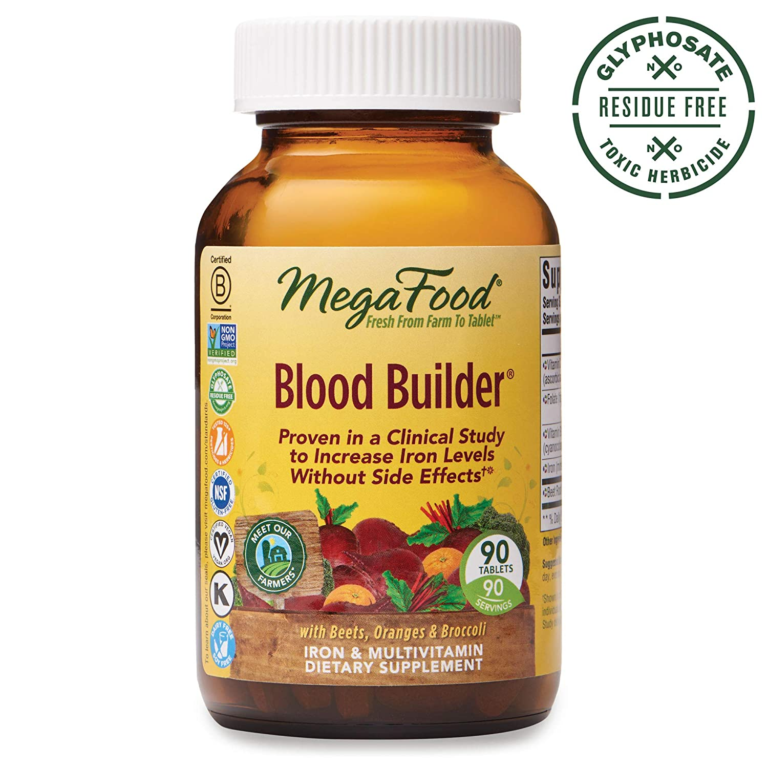 MegaFood, Blood Builder, Daily Iron Supplement and Multivitamin, Supports  Energy and Red Blood