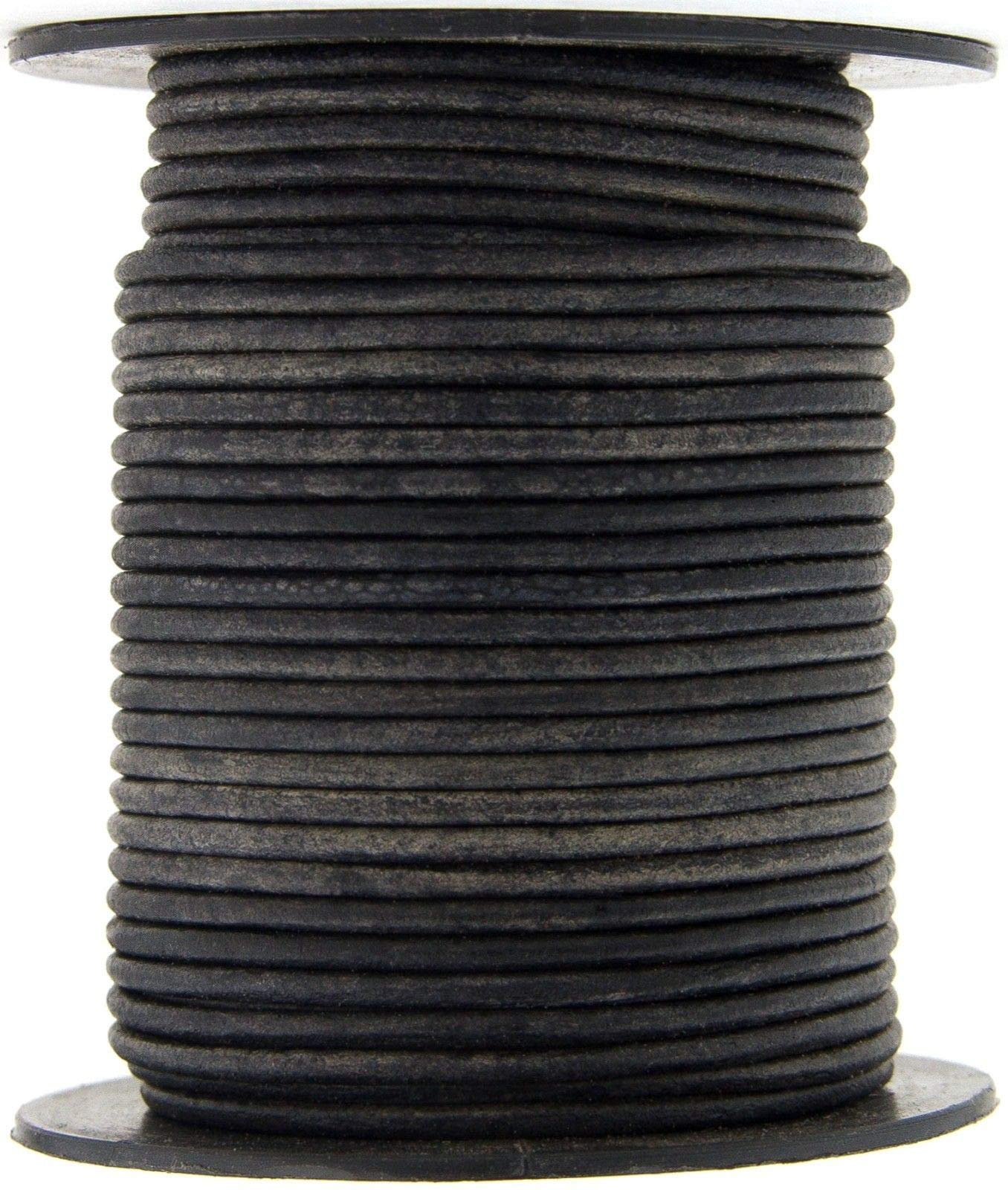 Gray Distressed Natural Dye Round Leather Cord 1.5mm 50 meters-54 Yards