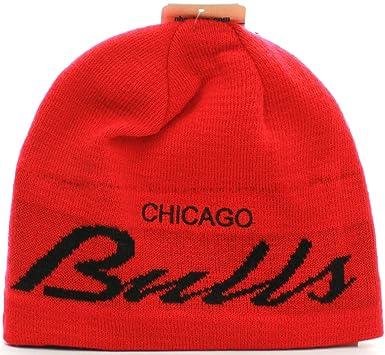 cf12e7f9cf8 ... best price nba chicago bulls script style skully cuffless knit vintage beanie  hat cap red 1636f