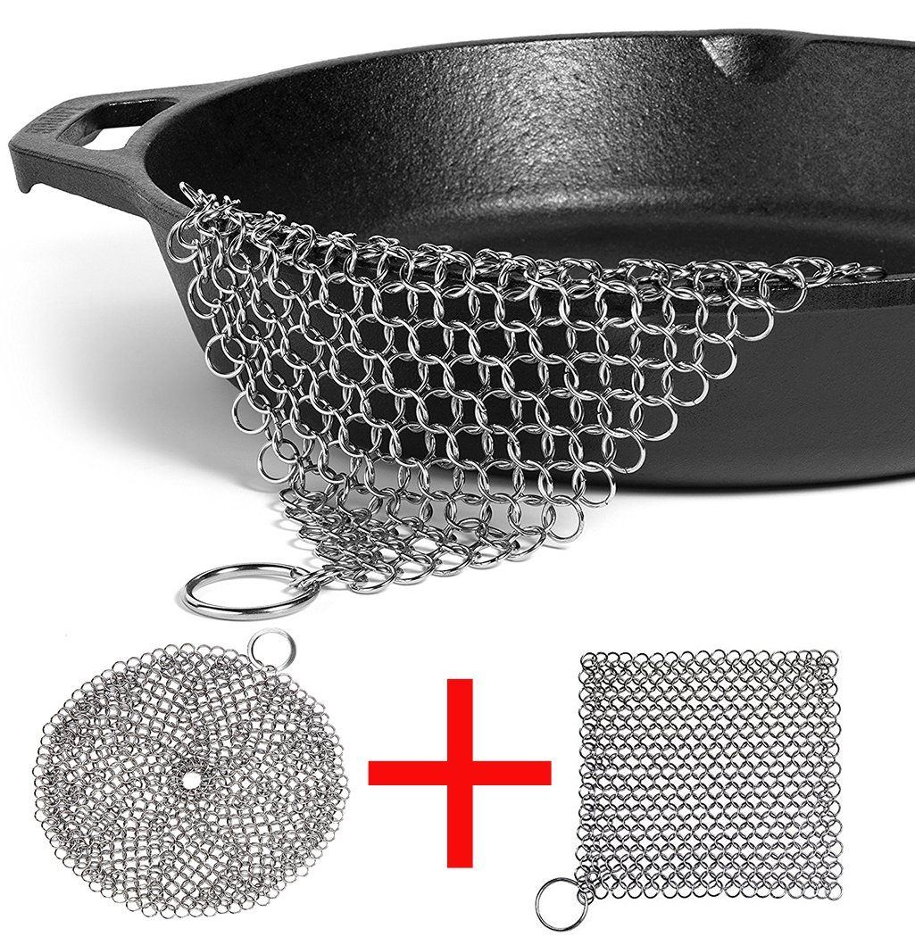 """LOOCH Cast Iron Cleaner 2 Pack- 8''x6'' and 7""""x7"""" More Efficient Stainless Steel Chainmail Scrubber for Cast Iron Pan Pre-Seasoned Pan Dutch Ovens Waffle Iron Pans Scraper Cast Iron Grill Scraper Skill by LOOCH (Image #1)"""