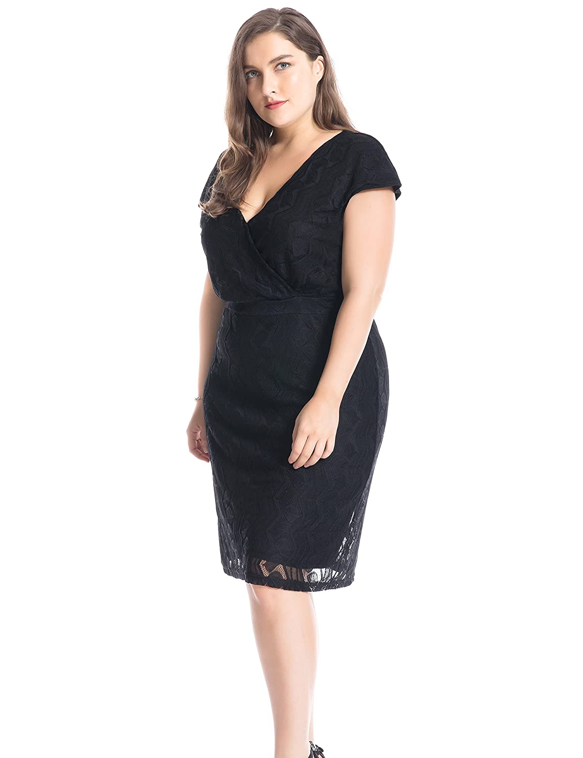 7b0b9b9dcf5 Chicwe Women s Plus Size Lined Cross Over V Neck Solid Lace Dress - Knee  Length Casual and Work Dress at Amazon Women s Clothing store