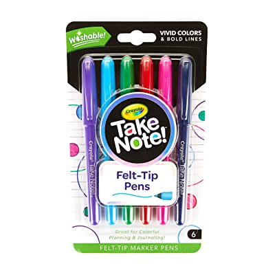 Crayola Take Note Felt Tip Pens, Assorted Colors, School Supplies, At Home Crafts for Kids, 6 Count: Office Products