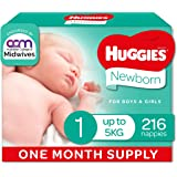 HUGGIES Ultimate Newborn Nappies, Unisex, Size 1 (Up To 5kg), One Month Supply, 216 count, (Packaging May Vary)