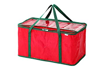 christmas lights storage crate organizer bag red 24l x 12w x 12h inches